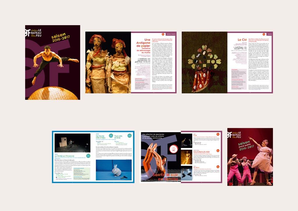 programme (116 pages – 17 x 23 cm – 2016-2017) – brochure jeune public (15 x 19 cm – depuis 2014)
